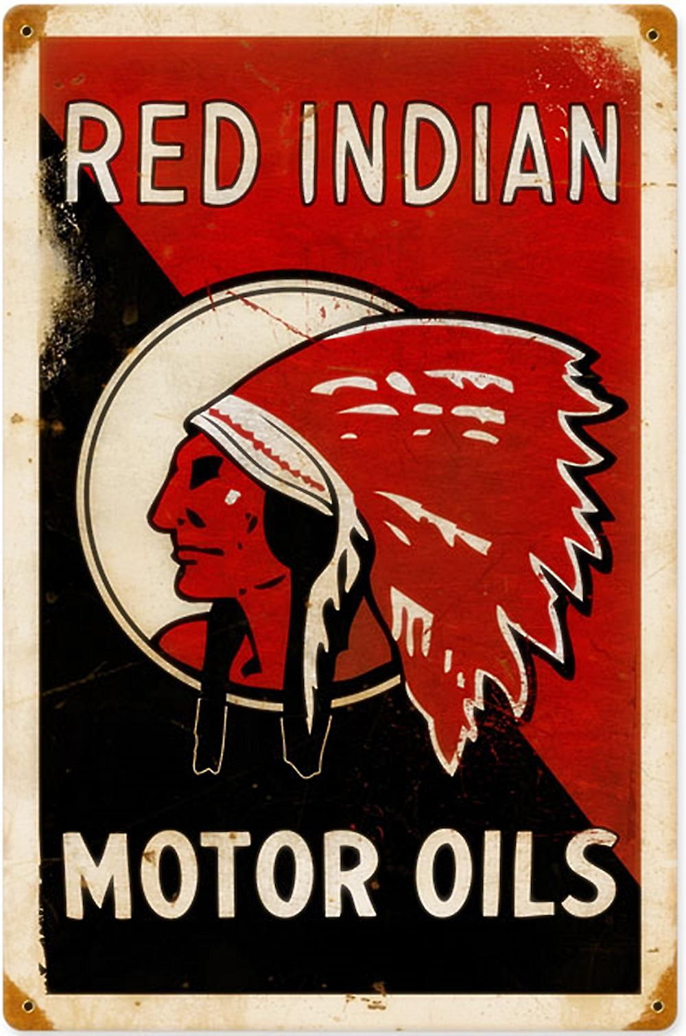 Red Indian Motor Oils rusted steel sign  (pst 1812)