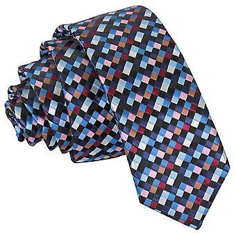 Negro con azul, Borgoña y bronce cuadros geométrico flaco corbata...