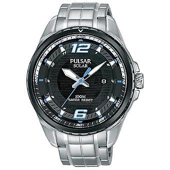 Pulsar solaire acier inoxydable Bracelet cadran noir montre PX3127X1