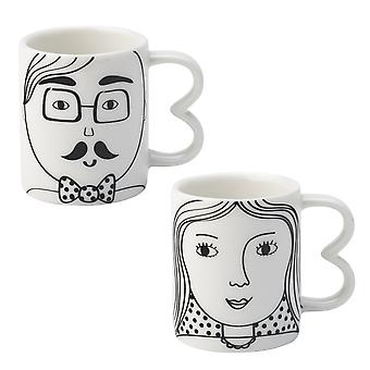English Tableware Co. Looking Good Espresso Cups Set, His and Hers