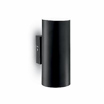 Ideal Lux Matt Black Modern Up Down Outdoor Cylinder Wall Light