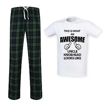 Mens This Is What An Awesome Uncle Knobhead Looks Like Tartan Pyjama Set