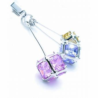 Jsuk Sterling Silver Triple Drop Multi Colored Cz Pendant on 18 Inch Chain