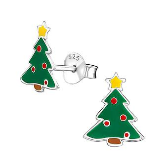 Christmas Tree Sterling Silver and Epoxy Stud Earrings