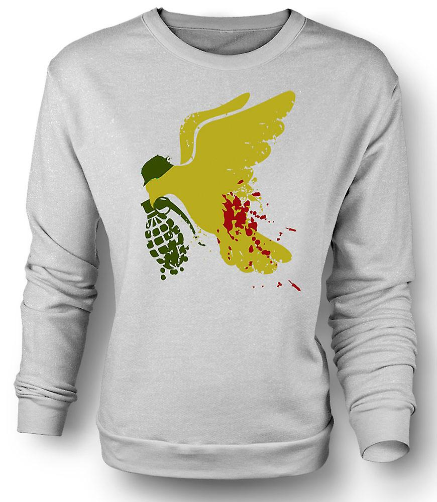 Mens Sweatshirt Peace Not War Taube Grenade - lustig