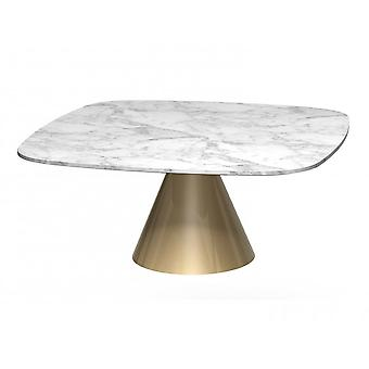 Gillmore Space Square Marble Coffee Table With Conical Brass Base