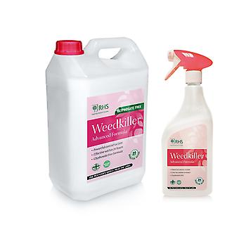 RHS Weed killer 1L + 5L Advanced Glyphosate Free Formula Effective within 24h