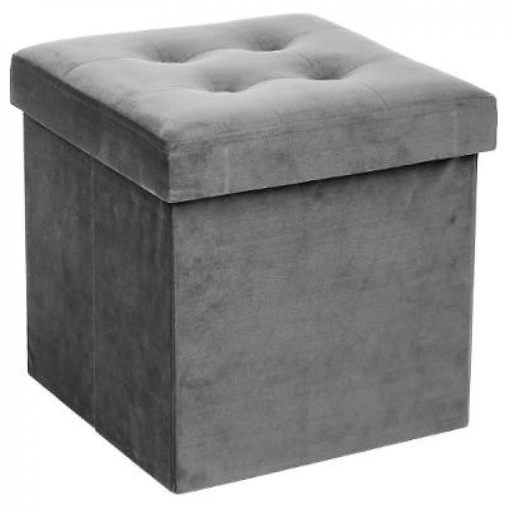 Velvet Pouf with Storage-grey