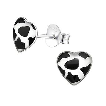 Cow Print Heart - 925 Sterling Silver Colourful Ear Studs - W31705X