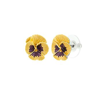 Eternal Collection Pansy Perfection Yellow Enamel Silver Tone Flower Stud Pierced Earrings