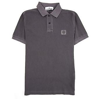 Stone Island Slim Fit Patch Polo Charcoal V0063
