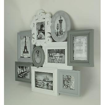 Grey and White 9 Photo Collage Picture Frames Wall Hanging