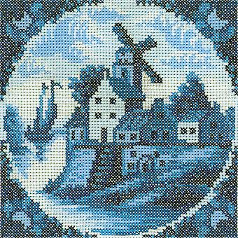 Antique Dutch Tiles Windmill I Counted Cross Stitch Kit 4 1 4