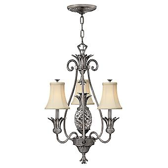 Plantation Traditional 3 Arm Chandelier with Ivory Silk Shades