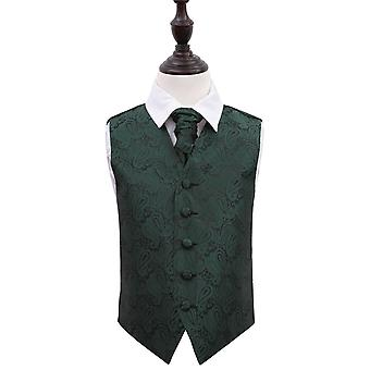 Boy's Emerald Green Paisley Patterned Wedding Waistcoat & Cravat Set