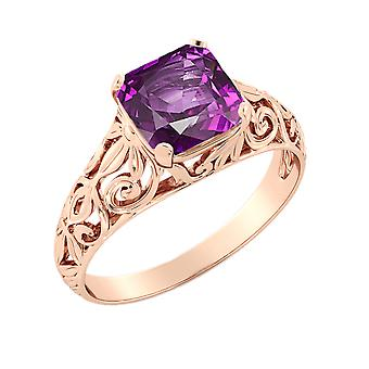 14K Rose Gold 2.00 CT Amethyst Ring Vintage Art Deco Filigree