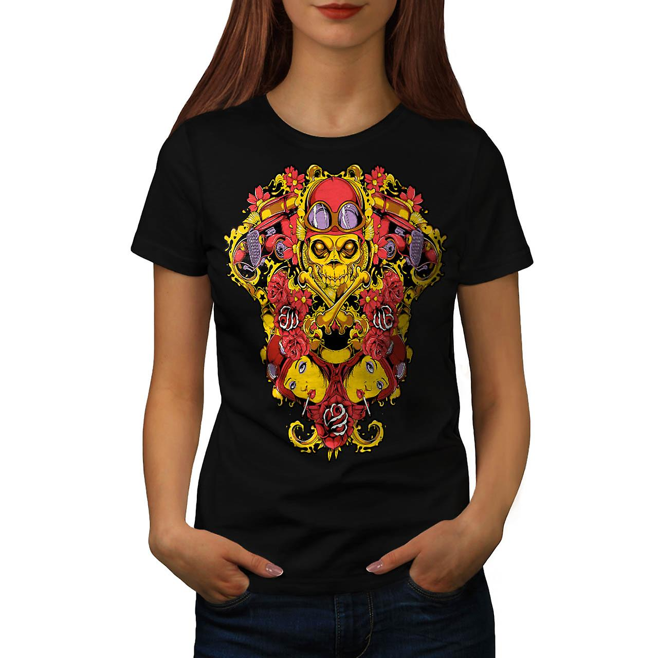 Scheletro Horror pilota Air Plane donna t-shirt nera | Wellcoda