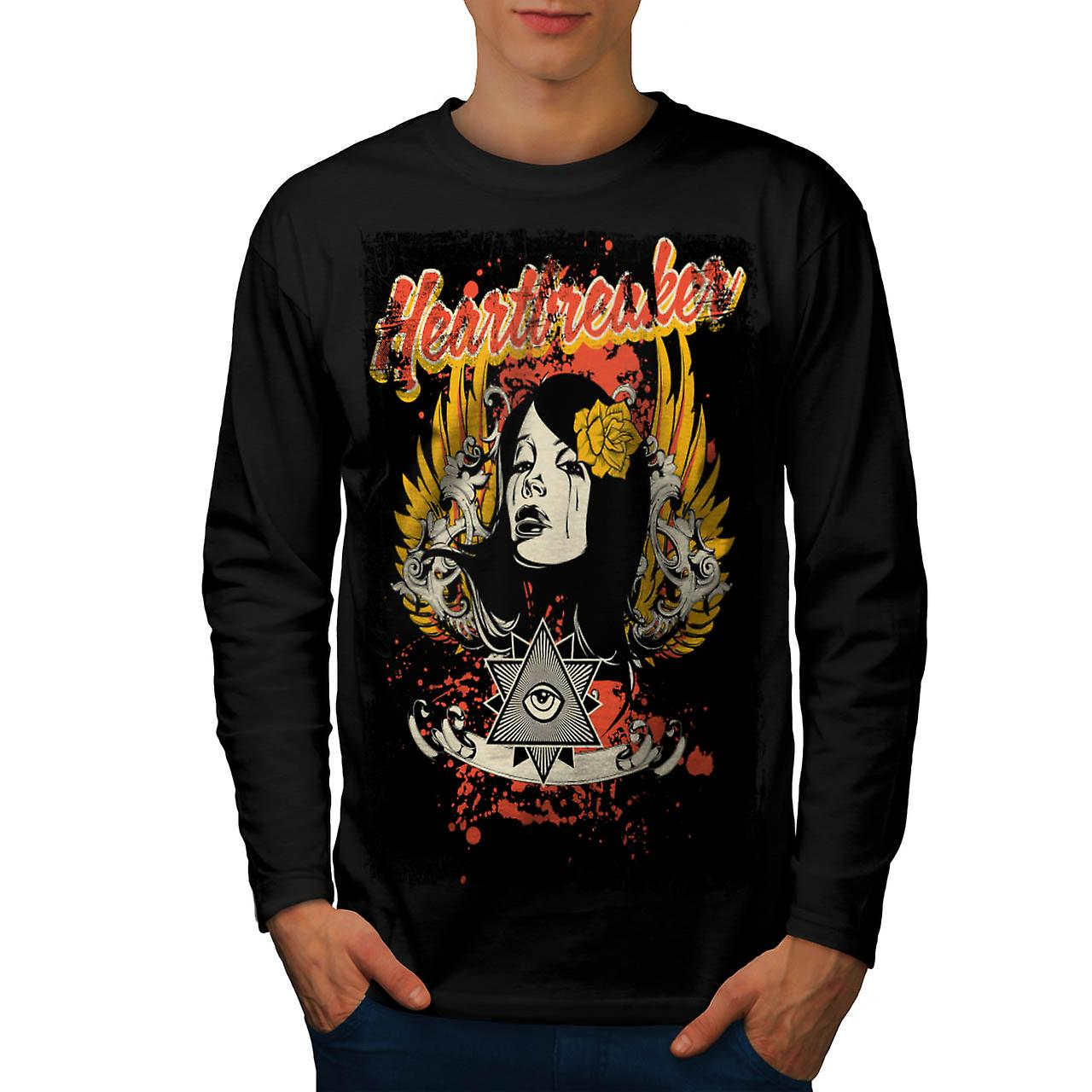Heartbreaker Rose Fashion Men Black Long Sleeve T-shirt | Wellcoda