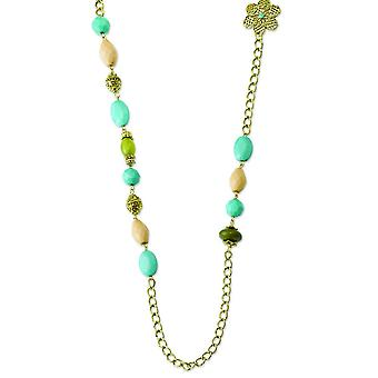 Gold-tone Teal Green and Cream Acrylic Beads 38inch Necklace