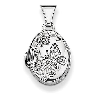 Sterling Silver Polished Patterned Holds 2 photos Butterfly Oval Locket - .7 Grams