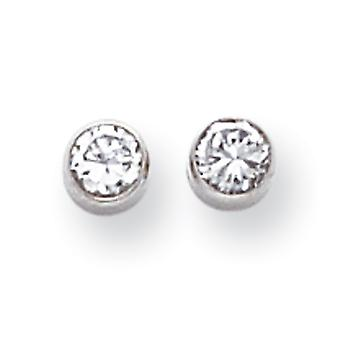 14k White Gold Polished 4mm Bezel Set Cubic Zirconia Post Earrings - Measures 4x4mm