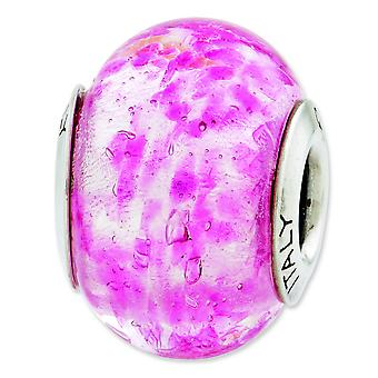 Sterling Silver Reflections Pink Italian Murano Glass Bead Charm