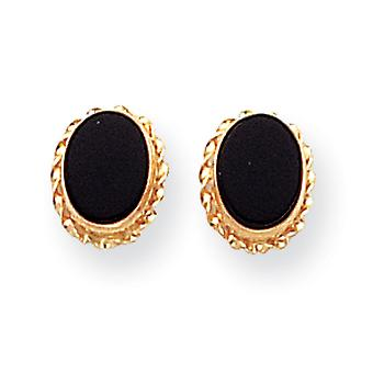 14k Yellow Gold Bezel Simulated Onyx Earrings - Measures 7x7mm
