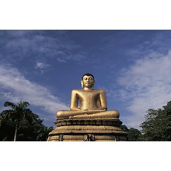 Sri Lanka Colombo Victoria Park gylden Buddha statuen PosterPrint