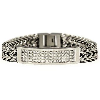 Link-ID Armband aus Edelstahl 2 Zeile CZ Franco 8 Zoll