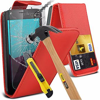 iTronixs - Microsoft Lumia 540 Premium Quality PU Leather Flip Cover with Tempered Glass