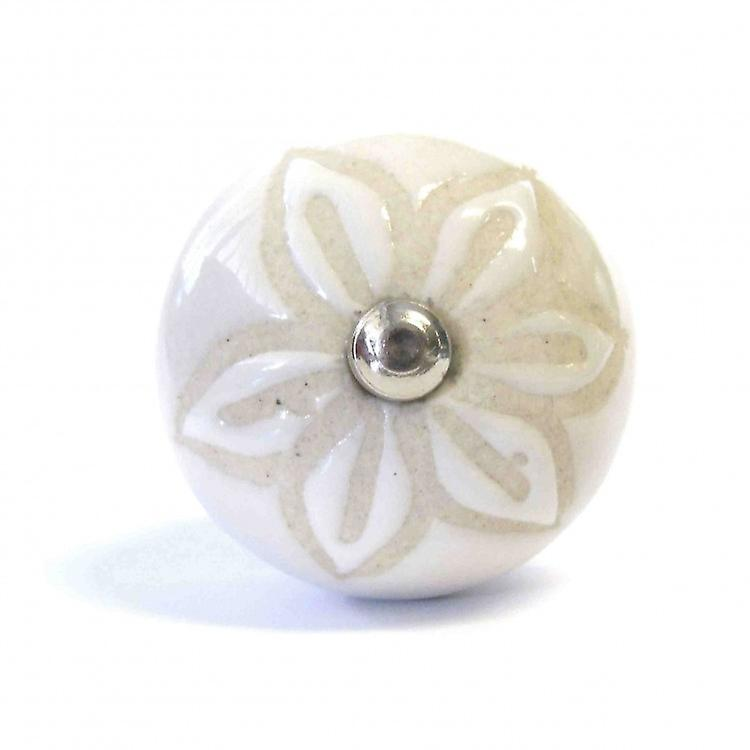 Cream With Beige Flower Ceramic Knob