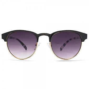 Miss KG Metal Round Preppy Sunglasses In Black On Gold