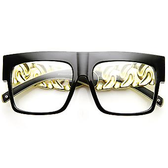 High Fashion Metal Chain Arm Clear Lens Flat Top Aviator Glasses
