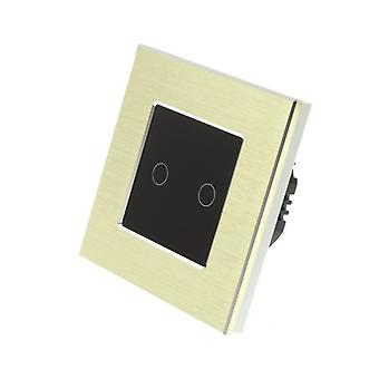 I LumoS Gold Brushed Aluminium 2 Gang 1 Way Touch Dimmer LED Light Switch Black Insert