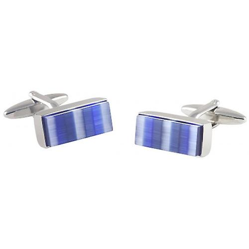 David Van Hagen Rectangle Cats Eye Striped Cufflinks - Silver/Blue