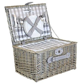 4 Person Grey Checked Picnic Basket with Cooler