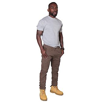 Men's Trousers with Cargo Pockets – Brown Cargo pants combat fashion trousers
