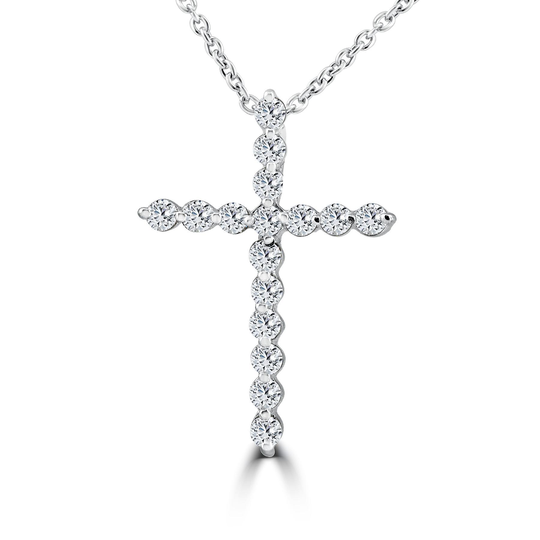 3 8ct Real Diamond Cross Pendant blanc or Necklace