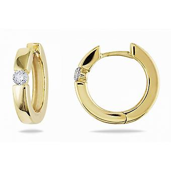 Affici Sterling sølv Hoop Earrings18ct gul guld belagt med Diamond CZ perle