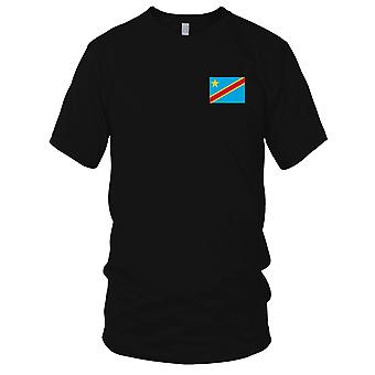 Dr Congo Country National Flag - Embroidered Logo - 100% Cotton T-Shirt Kids T Shirt