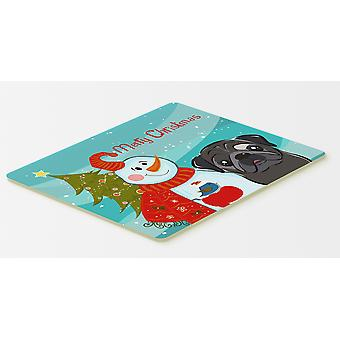 Carolines Treasures  BB1883CMT Snowman with Black Pug Kitchen or Bath Mat 20x30