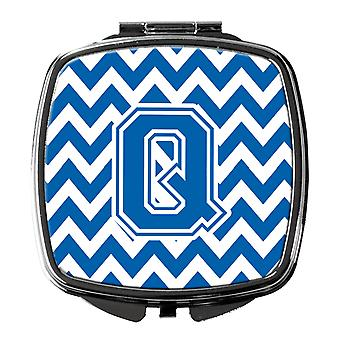Carolines Treasures  CJ1056-QSCM Letter Q Chevron Blue and White Compact Mirror