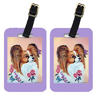 Carolines Treasures  7237BT Pair of 2 Papillon Luggage Tags