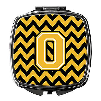 Carolines Treasures  CJ1053-OSCM Letter O Chevron Black and Gold Compact Mirror
