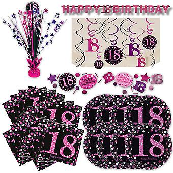 18th birthday pink glitter party set XL 39-teilig for 8 guests decoration Kit