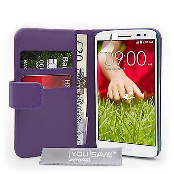 Yousave akcesoria LG G2 Mini Portfel skórzany efekt wypadku - fioletowy