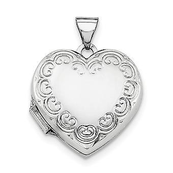 Prata esterlina polido padronizada contém 2 fotos medalhão coração - 1,8 gramas