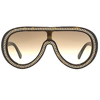 Stella McCartney Falabella Visor Sunglasses In Havana Gold