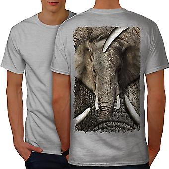 Elephant Face Wild Animal Men GreyT-shirt Back | Wellcoda