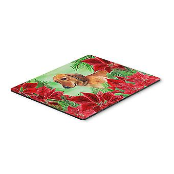 Carolines Treasures  CK1300MP Dachshund Poinsettas Mouse Pad, Hot Pad or Trivet